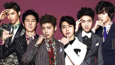 Barom Yu (second from right) with his South Korean boy band C-CLOWN.