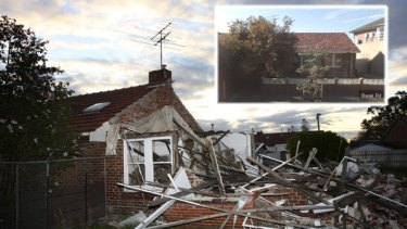 Main picture: The Barack Road site in Port Melbourne after the home was illegally demolished last year. Inset: A Google Maps image of how the home had looked prior to demolition.