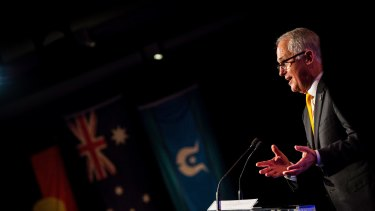 Prime Minister Malcolm Turnbull addresses the guests at the The National Reconciliation Week Luncheon.