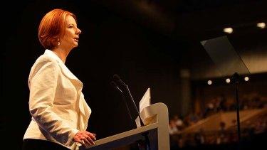 Prime Minister Julia Gillard addresses the ALP's  National Conference.