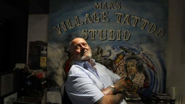 Marksman: Max Chater in his tattoo studio.
