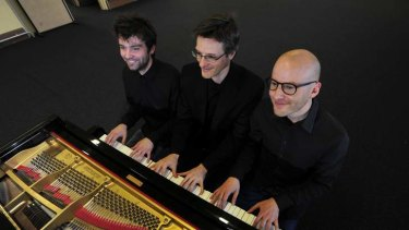 Six-handed: (from left) pianists Adam Cook, Timothy Young and Daniel de Borah.