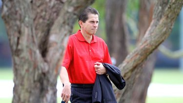 Observer … Frank Farina watches Sydney FC at training on Saturday before the club's game against Melbourne Heart.
