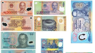 Some of the polymer notes printed by Securency.