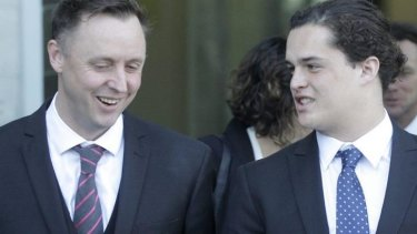Vindicated: Lucan Battison (right) and his lawyer Jol Bates and at the New Zealand High Court in Wellington on Friday.