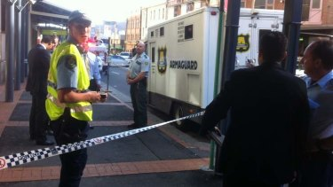 Shots fired: the scene of the suspected armed robbery at Broadway Shopping Centre.
