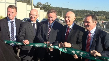 State Transport Minister Scott Emmerson, Member for Blair Shayne Neumann, Federal Transport Minister Anthony Albanese, Member for Oxley Bernie Ripoll and Ipswich Mayor Paul Pisasale open the latest Ipswich Motorway upgrade.