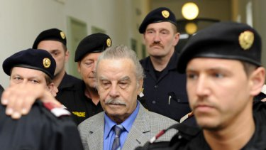 Josef Fritzl arrives at the court for trial on the charges of incest and murder yesterday.