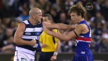 Paul Chapman connects with one of a series of punches to Liam Picken's chest.