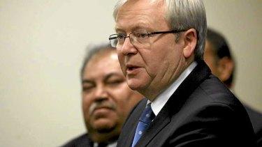 Prime Minister Kevin Rudd and Nauru President Baron Waqa.