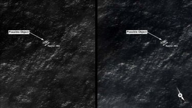 Satellite images of possible debris in the southern Indian Ocean.