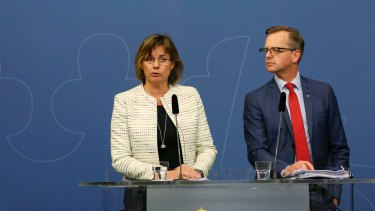 Sweden's Deputy Prime Minister, Isabella Lovin and Enterprise and Innovation Minister Mikael Damberg, right, at a 2016 press conference.