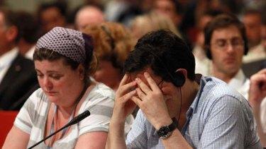 Fatigue … delegates in Durban.