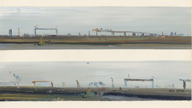 'West Gate Bridge', by Fred Williams, 1970. This is one of many paintings and drawings by the Victorian artist of the bridge, i