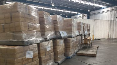 Some of the 71 tonnes of illicit tobacco seized by Australian customs officials in June, 2015.