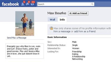 The false Facebook site in the name of Max Bourke.