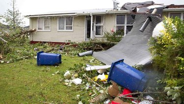 Devastation ... a house in the suburb of Hobsonville.