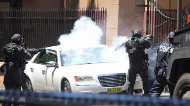 Police storm the car outside Parliament House.