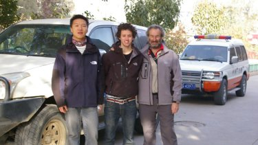 Jack and Jon Faine with their Chinese guide in Kashgar, in China's Xinjiang Uighur Autonomous Region.