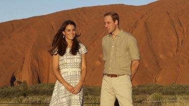 Prince William, Duke of Cambridge and Catherine, Duchess of Cambridge enjoy a sunset walk at Uluru.