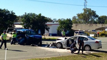 Three people were injured in this crash at First Avenue on Bribie Island.
