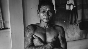 A victim of human trafficking from Myanmar who was rescued from a fishing boat pictured in Ambon in Indonesia.
