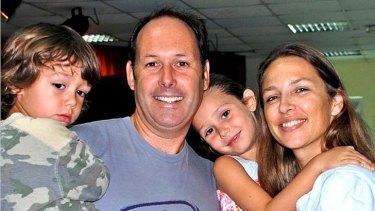 Matt Joyce, his wife Angela Higgins and two of their three children.