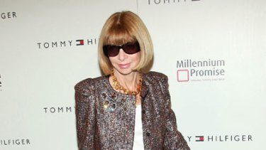 US Vogue editor Anna Wintour at Tommy Hilfiger's New York collection show.