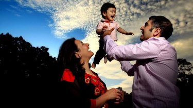 From heartbreak to happiness: Halimah Shams and Sanjeet Khaira with their son Kabir, who was born on Christmas Day.