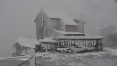 This Hotham Heights chalet looked like a magical snow-covered gingerbread house after an unseasonal cold snap draped a blanket of white over the high country yesterday.
