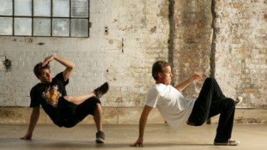B-boys . . . Rely (left) shows the writer some moves.
