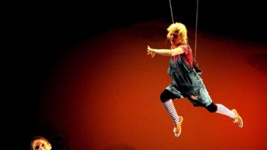 Aerialism ... Danielle Jackson, as Gabi, in Snow On Mars. There is no attempt to disguise rigger Mark Le Cornu's part.