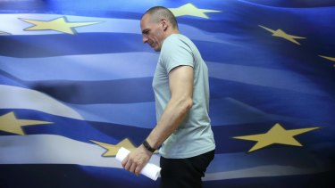 Greek Finance Minister Yanis Varoufakis arrives in Athens.