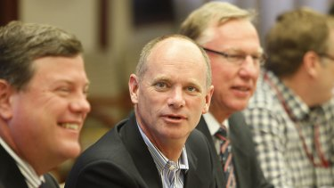 Premier-elect Campbell Newman with the first two members of his Cabinet, Treasurer Tim Nicholls (left) and Deputy Premier Jeff Seeney.