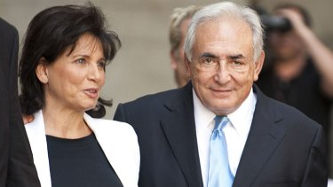 Freed ... Dominique Strauss-Kahn and wife Anne Sinclair.