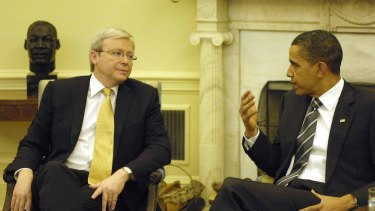 Kevin Rudd, as prime minister, meeting US President Obama in the White House in 2009.