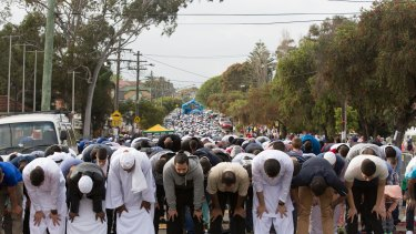 Prayers at Lakemba Mosque during Eid al-Adha in Bankstown, NSW on October 4, 2014.