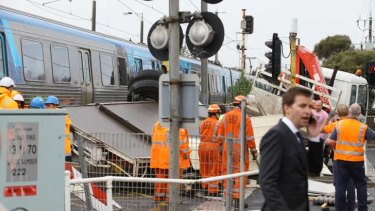 The aftermath of the collision at the Bonbeach station level crossing.
