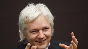 WikiLeaks founder Julian Assange talks during a news conference in central London.
