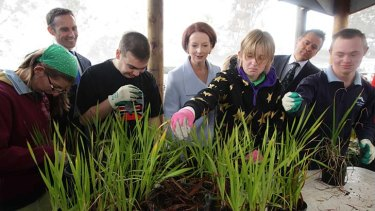 Prime Minister Julia Gillard meets with students during her visit to Black Mountain School.
