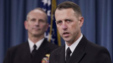 Exposing exam cheaters ... Admiral John Richardson, director of the Naval Nuclear Propulsion Program, right, speaks about the US Navy's investigation at the Pentagon.