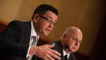 Daniel Andrews, with Treasurer Tim Pallas, announces complete dumping of East West Link.