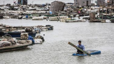 A fisherman paddles a makeshift boat to check his fish farms after Typhoon Rammasun hit Leizhou, Guangdong province July 19, 2014. A super typhoon has killed at least fourteen people in China since making landfall on Friday afternoon, state media said on Saturday, after hitting parts of the Philippines.