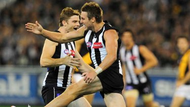 Happier times. Dale Thomas and Heath Shaw may both be lost to Collingwood in a month.
