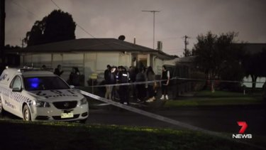 Police at the scene of a fatal Norlane stabbing.