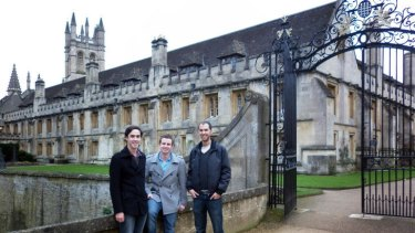 Distance learning: Victorian students Cameron Sim, James Hillis and Alessandro Caputo at Magdalen College in Oxford.