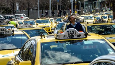 A previous taxi protest and blockade at Parliament House.