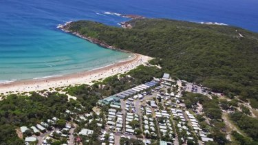 One Mile Beach, near Port Stephens, where a teenager was struck by lightning.