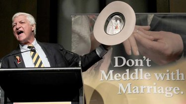 "Bob Katter addresses the ""Don't Meddle with Marriage"" rally at Parliament House, Canberra earlier this month."