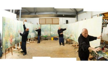 Project of passion: Painter Salvatore Zofrea at work on <i>Morning Light</i>.